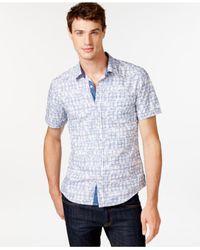 Guess | Blue Ikat Short-sleeve Button-down Shirt for Men | Lyst