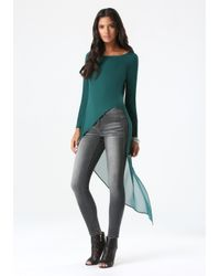 Bebe | Green Dramatic Chiffon Back Top | Lyst