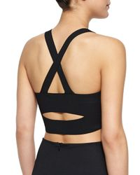 T By Alexander Wang - Black Ribbed Ponte Cross-back Crop Top - Lyst