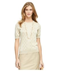 Brooks Brothers - Natural Short-sleeve Jacquard Sweater - Lyst