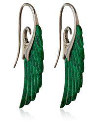 Noor Fares - Metallic Silver Green Malachite Wing Earrings - Lyst