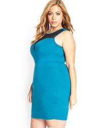 Forever 21 - Blue Mesh-trimmed Bodycon Dress - Lyst