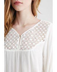 Forever 21 - Natural Crochet Gauze Top - Lyst