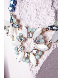 Missguided - Multicolor Statement Crystal Cut Out Necklace Multi - Lyst