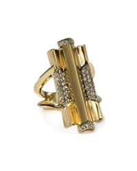 House of Harlow 1960 | Metallic Defined Deco Cocktail Ring | Lyst