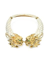 Roberto Cavalli - Metallic Enamel and Brass Dragon Necklace - Lyst