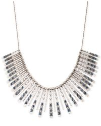 Lucky Brand - Metallic Silver-tone Blue Collar Necklace - Lyst