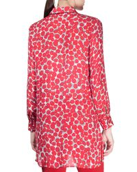 Etro - Red Long Bubble-print Ruffle-front Blouse - Lyst
