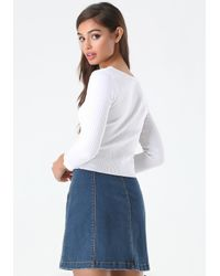 Bebe - White Ribbed Scoopneck Sweater - Lyst