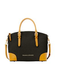 Dooney & Bourke | Black Claremont Python Dome Satchel Bag | Lyst