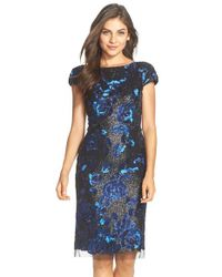 Vera Wang - Black Sequin Embellished Sheath Dress - Lyst
