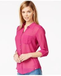 Guess | Pink Sheer Roll-tab Button-down Shirt | Lyst