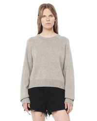 Alexander Wang | Gray Cashwool Cropped Sweater | Lyst