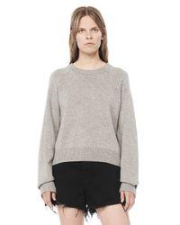 Alexander Wang - Gray Cashwool Cropped Sweater - Lyst