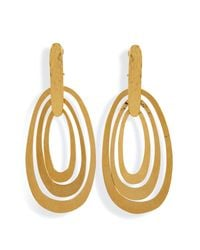 Herve Van Der Straeten | Metallic Hammered Gold-Plated Saturne Clip Earrings | Lyst