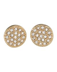 Lauren by Ralph Lauren | Metallic Goldtone Pav?? Crystal Stud Earrings | Lyst