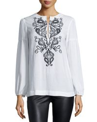 Nanette Lepore - White Long-sleeve Embroidered Peasant Blouse - Lyst