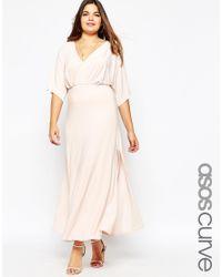 ASOS - Blue Maxi Kimono Dress With Plunge Neck - Navy - Lyst