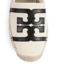 Tory Burch | White Canvas & Leather Logo Espadrilles | Lyst