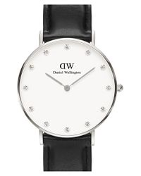 Daniel Wellington - Black 'classy Sheffield' Crystal Index Leather Strap Watch - Lyst