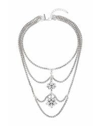 TOPSHOP | Metallic Cluster Stone Multirow Necklace | Lyst