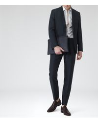 Reiss - Blue Leary T Linen Mix Tailored Trousers for Men - Lyst