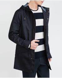 Zara | Blue Light Cotton Parka for Men | Lyst