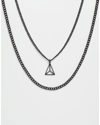 ASOS - Geometric Necklace Pack In Matte Black for Men - Lyst