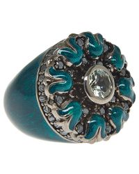 M.c.l | Blue Gothic Flower Ring | Lyst