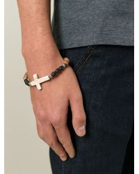 Saint Laurent | Black Beaded Crucifix Bracelet for Men | Lyst