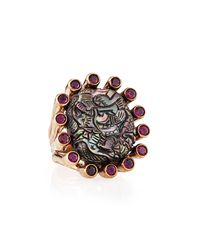 Stephen Dweck - Metallic Bronze & Carved Gray Mother-Of-Pearl Ring - Lyst