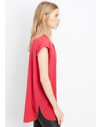 VINCE | Red Silk Frayed Edge Placket Cap Sleeve Top | Lyst