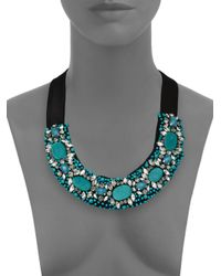 Etro | Blue Beaded Ribbon Necklace | Lyst