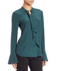 Rachel Zoe | Green Silk Ruffle Blouse | Lyst