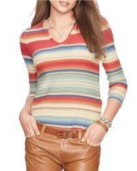 Lauren by Ralph Lauren | Multicolor Striped Cotton-linen Sweater | Lyst