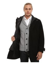 Marc New York | Black Morningside Pressed Wool Car Coat W/ Removable Quilted Bib for Men | Lyst