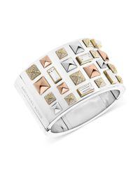Michael Kors | Metallic Tritone Pyramid Stud Wide Cuff Bracelet | Lyst