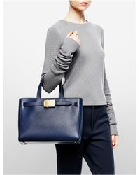 Calvin Klein - Blue Collection Calf Small Tote With Roller Buckle - Lyst