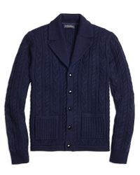 Brooks Brothers - Blue Cable Cardigan for Men - Lyst