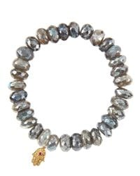 Sydney Evan - Metallic Mystic Labradorite Rondelle Beaded Bracelet With 14K Gold Hamsa Charm (Made To Order) - Lyst