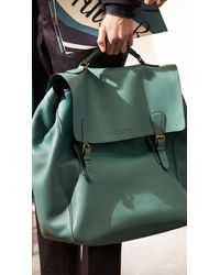Burberry | Green The Travel Satchel in Grainy Leather for Men | Lyst