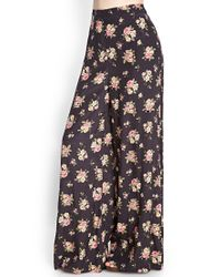 Forever 21 - Black Rose Print Wide-leg Trousers - Lyst