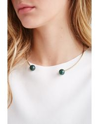 Forever 21 | Green Faux Stone Collar Necklace | Lyst