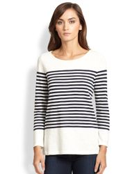 Joie - White Abina Striped Cotton Tee - Lyst