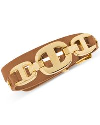 Michael Kors | Metallic Gold-Tone Maritime Leather Bracelet | Lyst