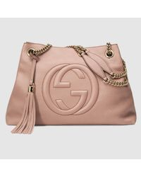664e68ade9c8 Lyst - Gucci Soho Leather Shoulder Bag in Pink