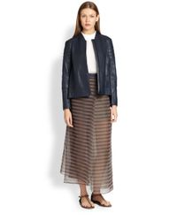 Brunello Cucinelli | Black Hammered Leather Moto Jacket | Lyst