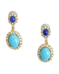 Ben-Amun - Blue Turquoise, Lapis And Crystal Drop Earring - Lyst
