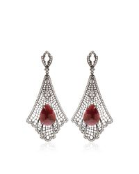 Loree Rodkin - Red Art Deco Spiderweb Earrings - Lyst