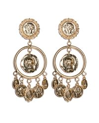 Pixie Market | Metallic Sicilian Gold Coin Chandelier Earrings | Lyst